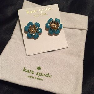 Kate Spade Blue Enamel Flower Stud Earrings
